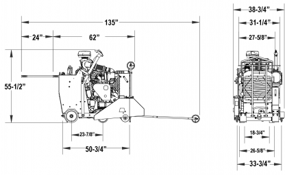 Schematic for CORE CUT CC6561GK DIAMOND PRODUCTS GAS WALK BEHIND SAW CC6561GK-3-30, 61HP, KUBOTA, 30IN, 3 SPEED, 5801193