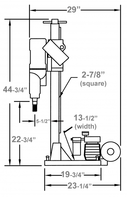 "M-1 Anchor - Location to drill anchor hole = 12"" measured from the center of the motor spindle to the center of the anchor slot on base"