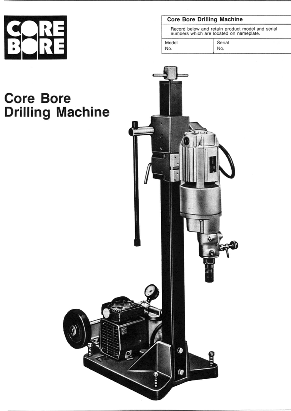 M-1 CORE DRILL COMPLETE COMBO RIG ON THE USER MANUAL COVER